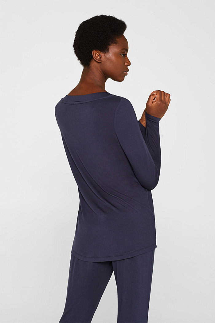 NAVY mix + match stretch long sleeve top, NAVY, detail image number 2