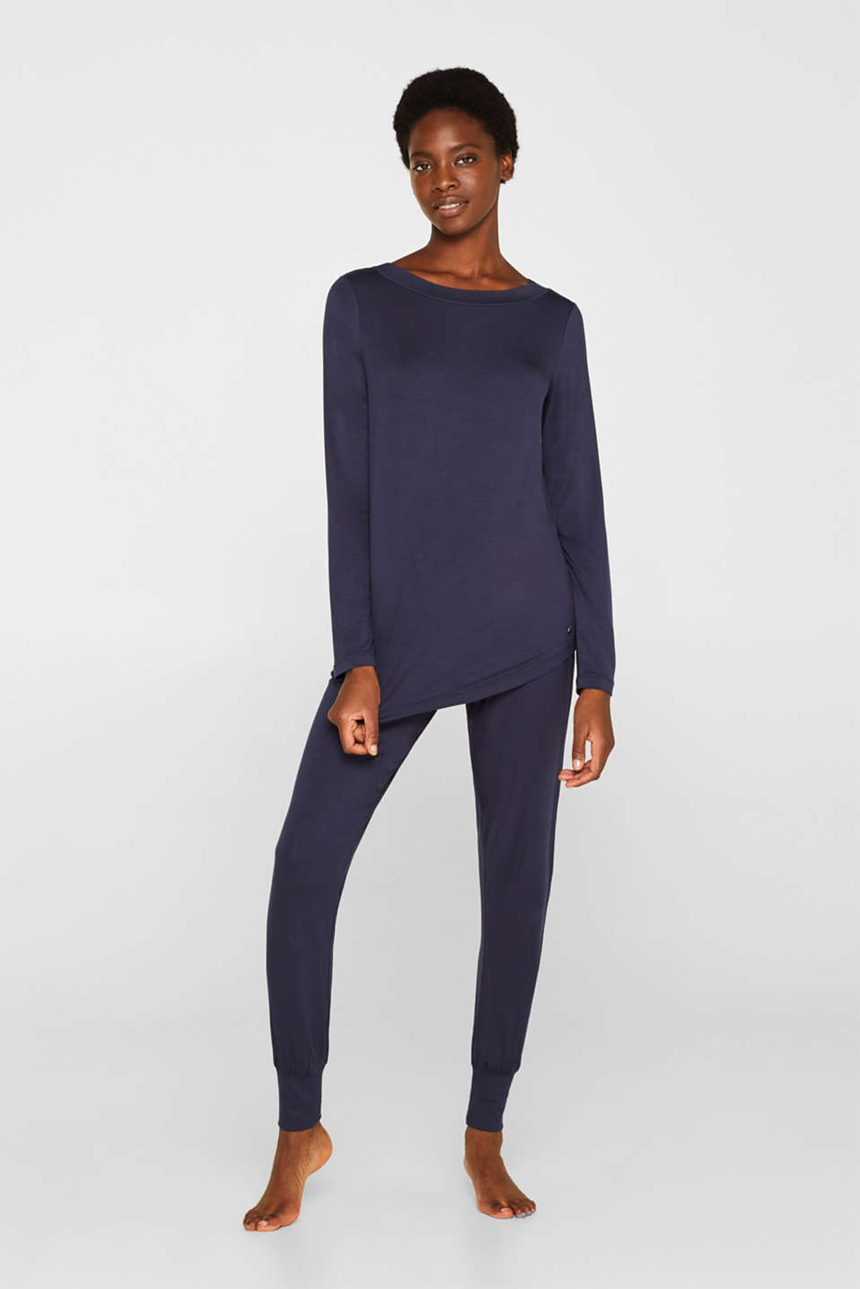 Esprit - NAVY mix + match jersey longsleeve met stretch