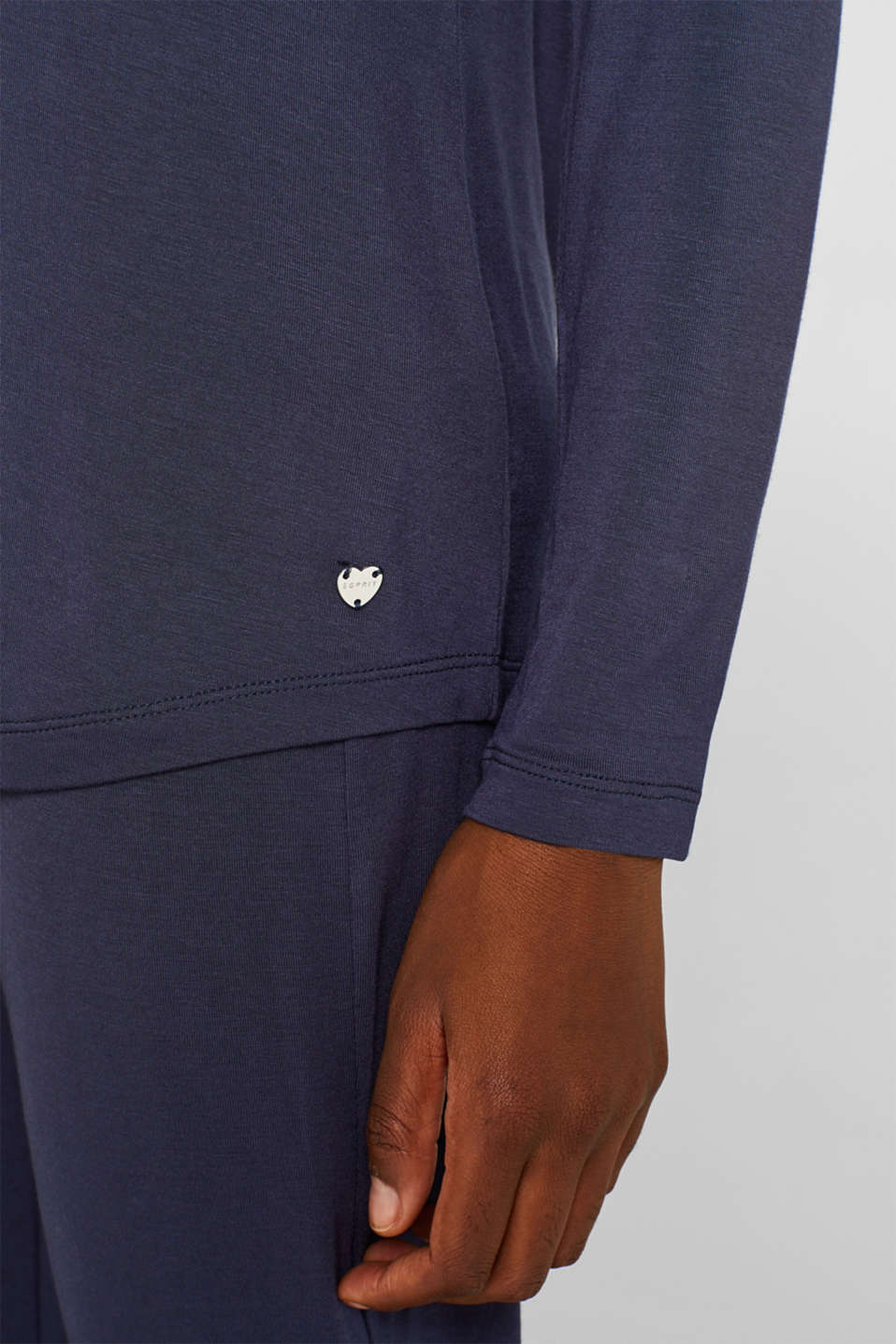 NAVY mix + match stretch long sleeve top, NAVY, detail image number 3