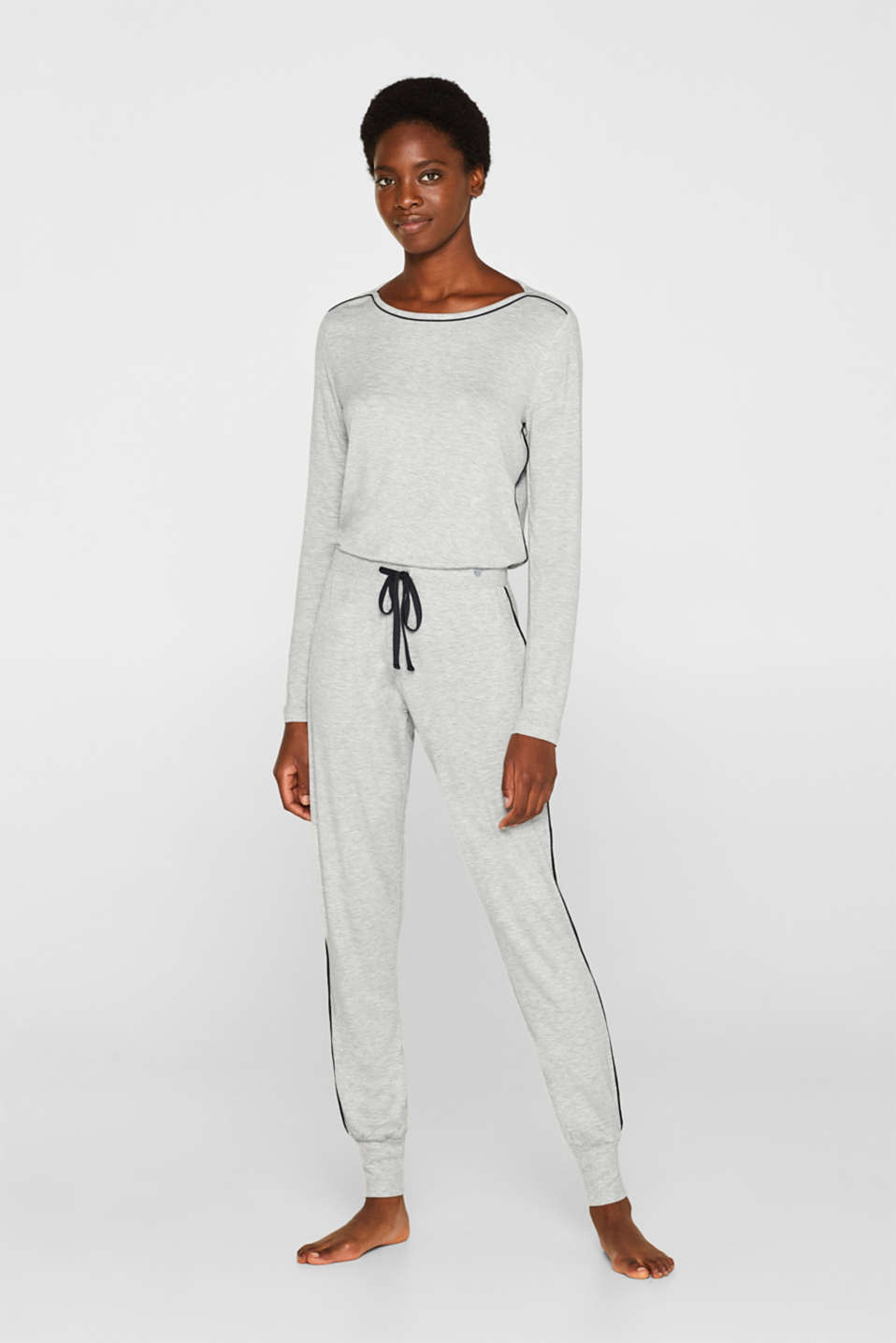 MELANGE mix + match stretch jersey trousers, LIGHT GREY, detail image number 1
