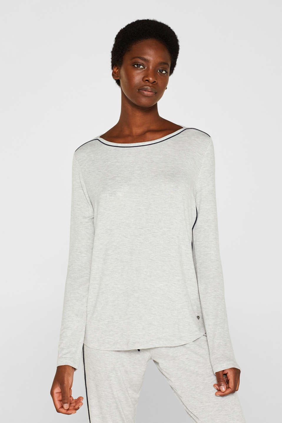 LIGHT GREY melange long sleeve top, LIGHT GREY, detail image number 1