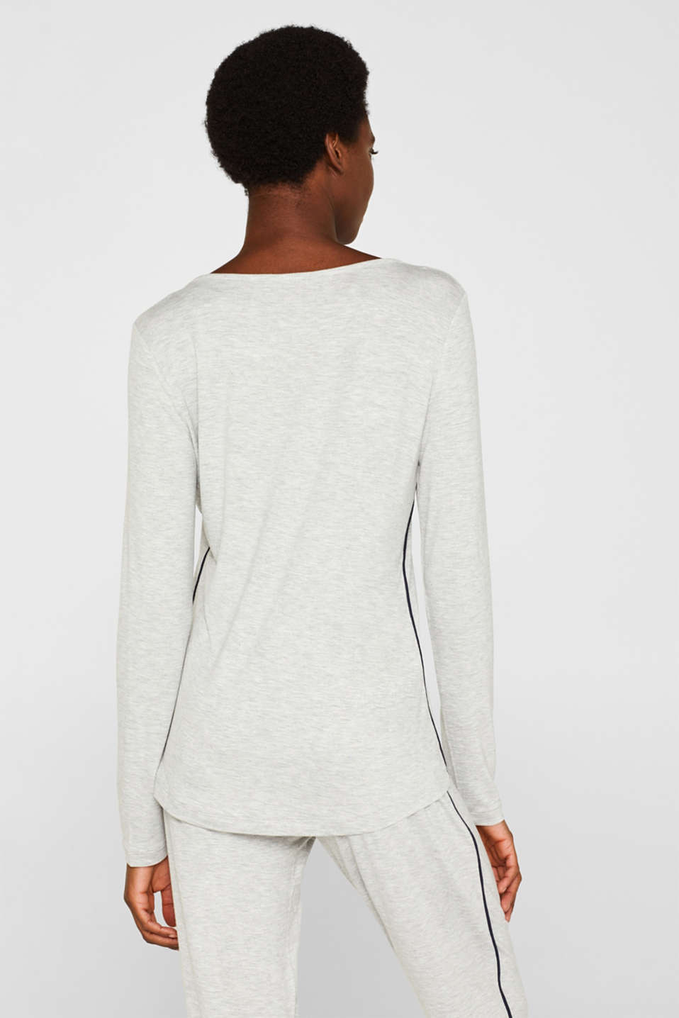 LIGHT GREY melange long sleeve top, LIGHT GREY, detail image number 2