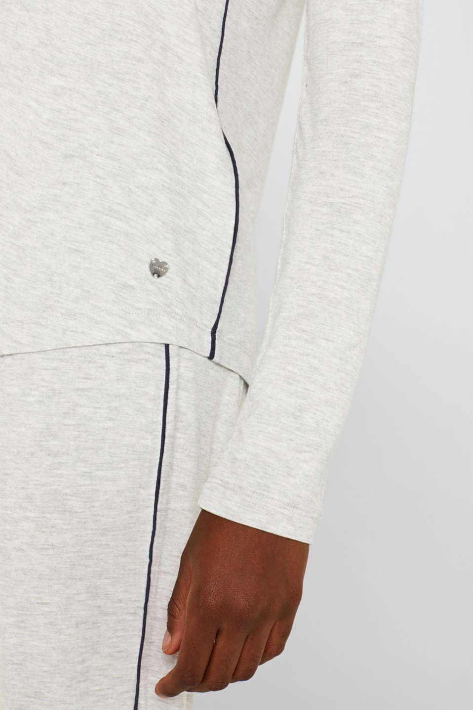 LIGHT GREY melange long sleeve top, LIGHT GREY, detail image number 3