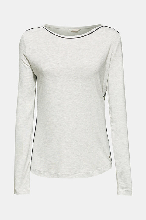 LIGHT GREY melange long sleeve top