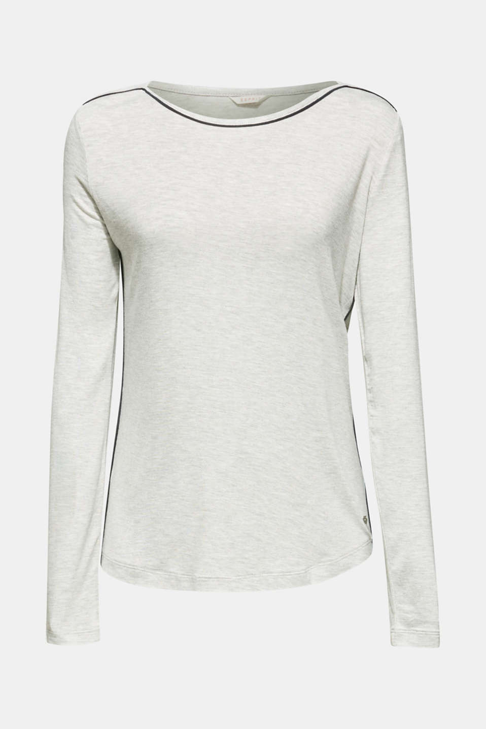 LIGHT GREY melange long sleeve top, LIGHT GREY, detail image number 6