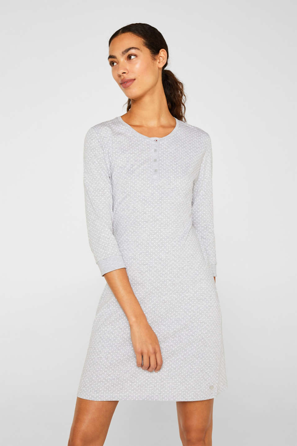 MODERN COTTON nightshirt, LIGHT GREY, detail image number 1