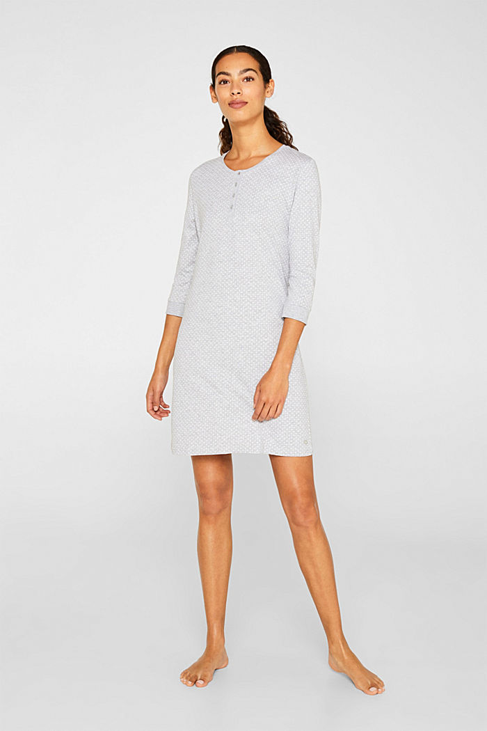 MODERN COTTON nightshirt, LIGHT GREY, detail image number 0
