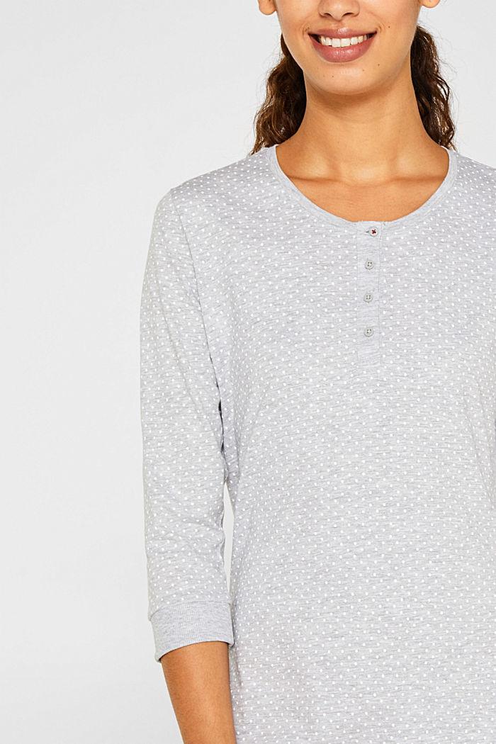 MODERN COTTON nightshirt, LIGHT GREY, detail image number 3