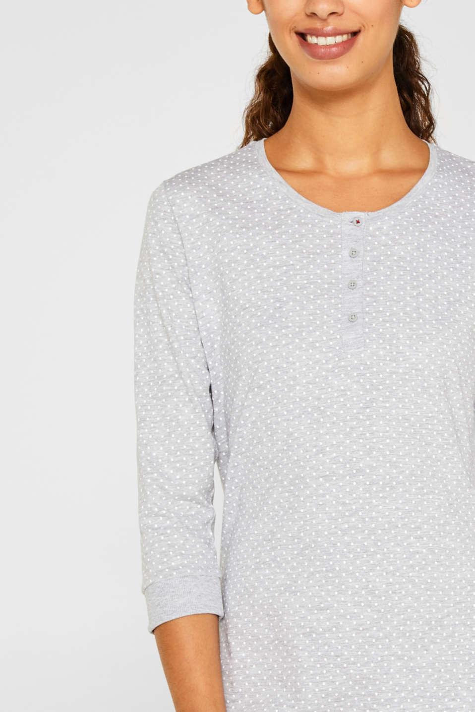 MODERN COTTON nightshirt, LIGHT GREY, detail image number 3