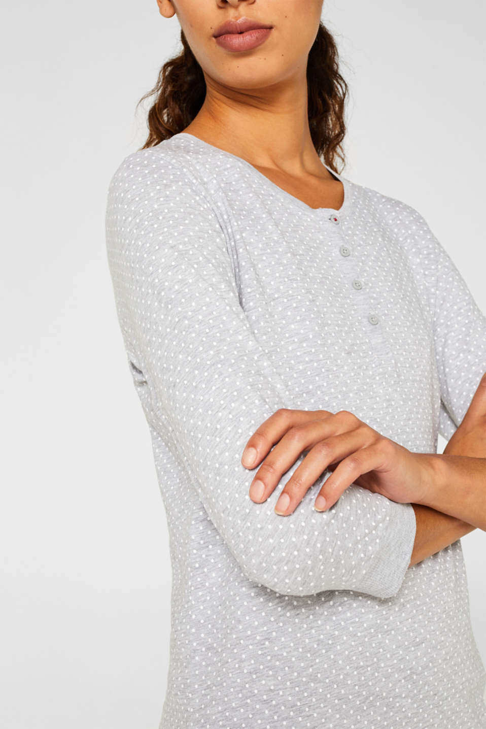 MODERN COTTON nightshirt, LIGHT GREY, detail image number 5