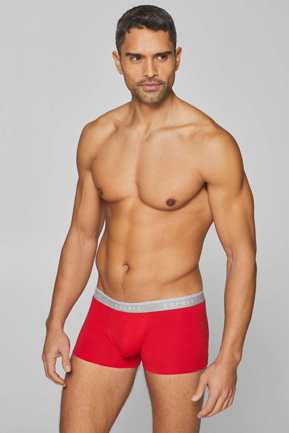 Stretch cotton hipster shorts, DARK RED, detail image number 0