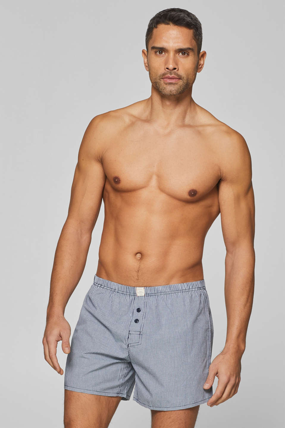 Checked boxer shorts, 100% cotton, NAVY, detail image number 0