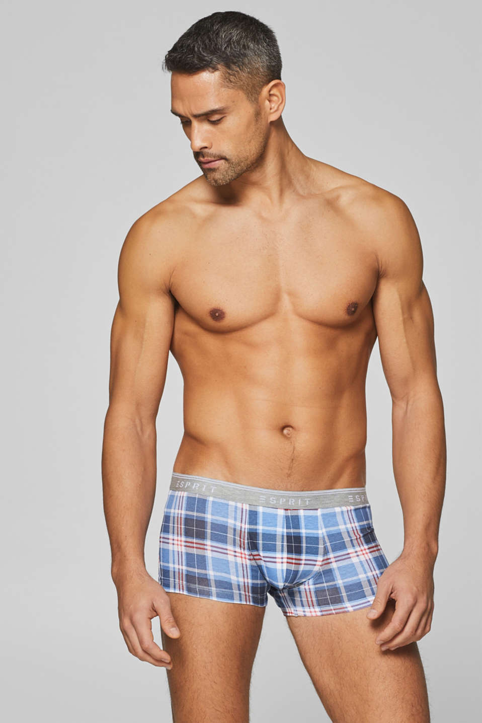 Esprit - Hipster shorts with check pattern and logo waistband