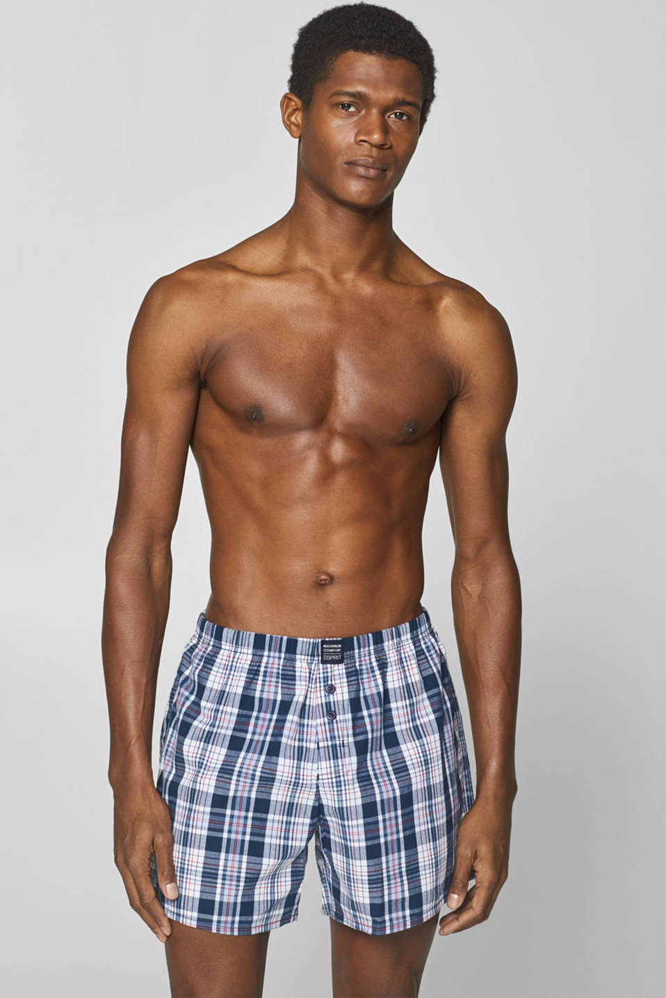 Esprit - Checked woven shorts in a double pack, 100% cotton
