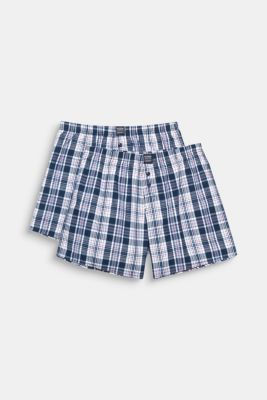 Checked woven shorts in a double pack, 100% cotton, NAVY, detail