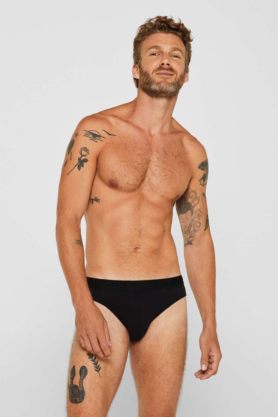 Stretch cotton briefs in a triple pack, BLACK, detail image number 0