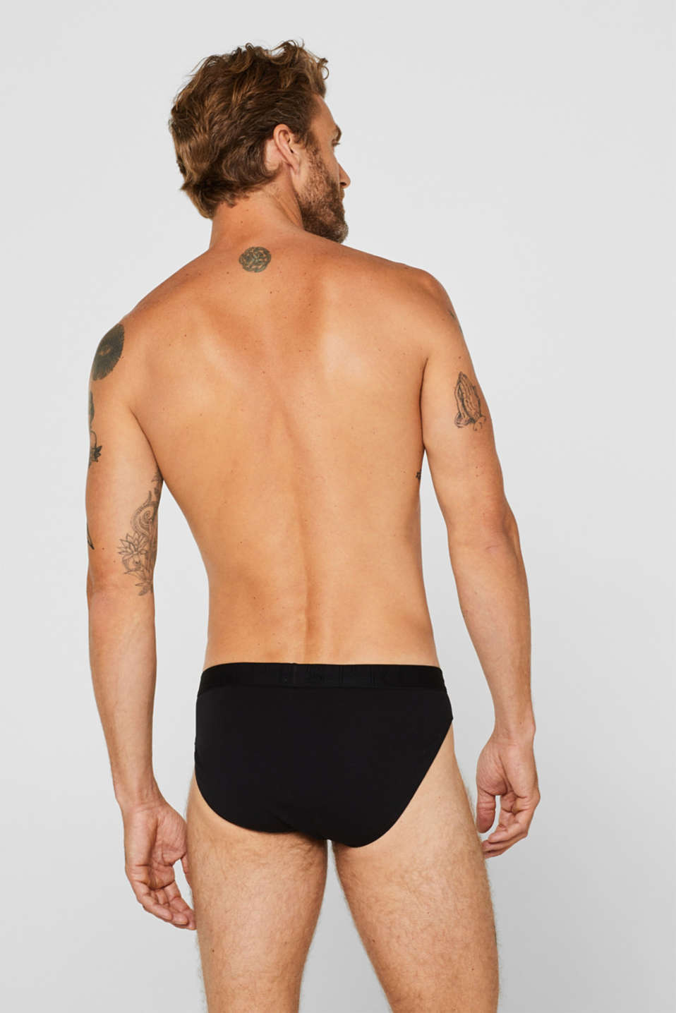 Stretch cotton briefs in a triple pack, BLACK, detail image number 1