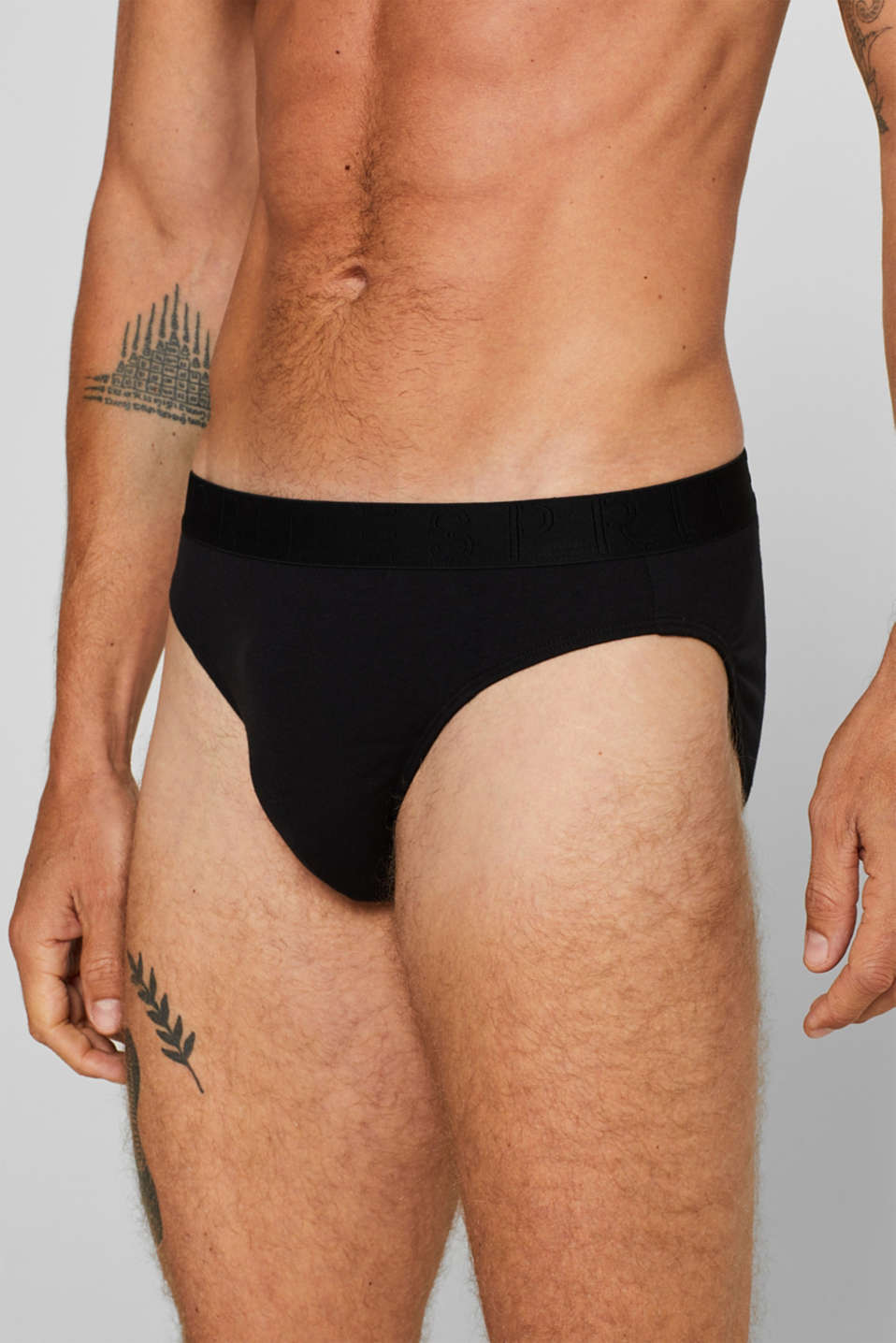 Stretch cotton briefs in a triple pack, BLACK, detail image number 2