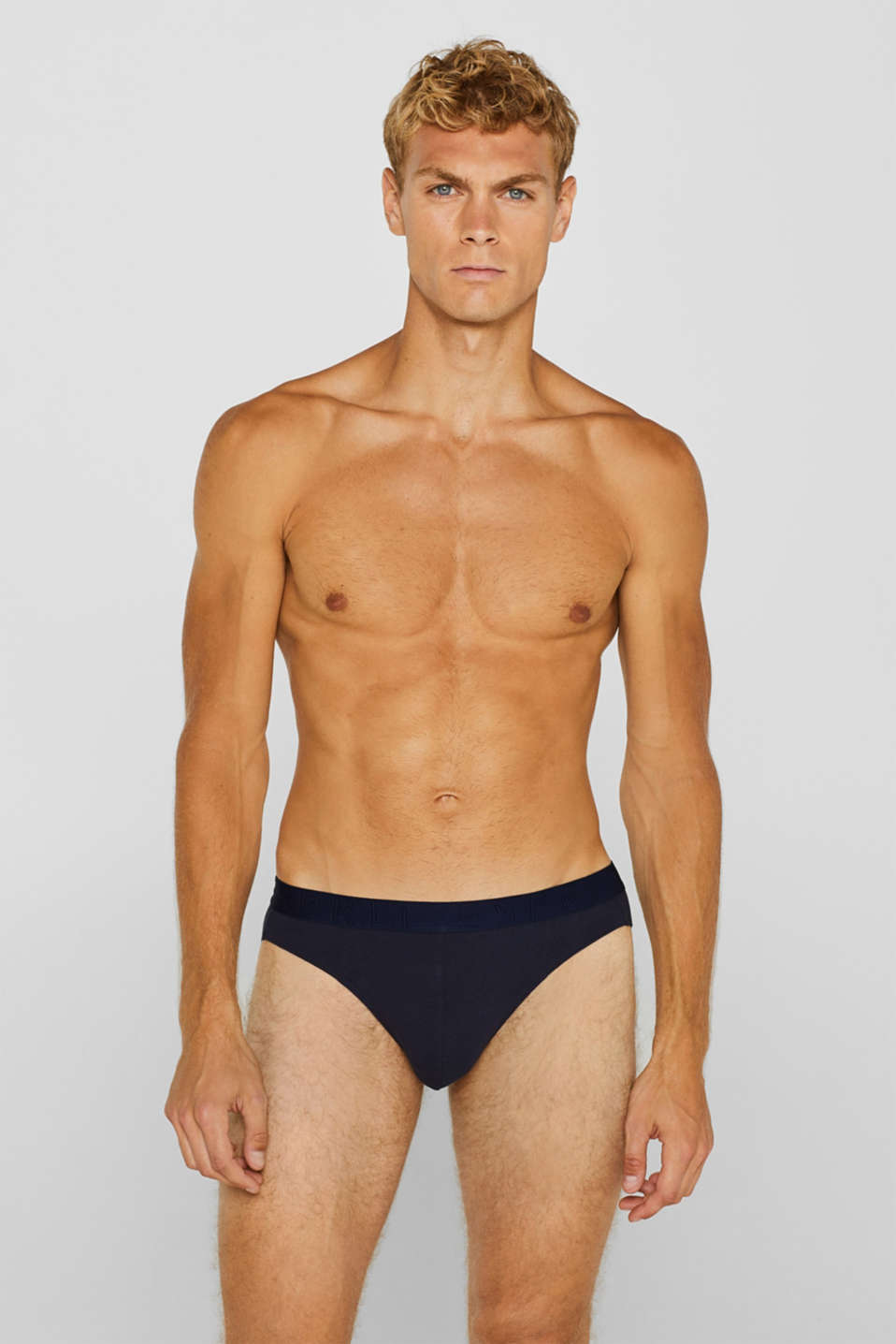 Stretch cotton briefs in a triple pack, NAVY, detail image number 0
