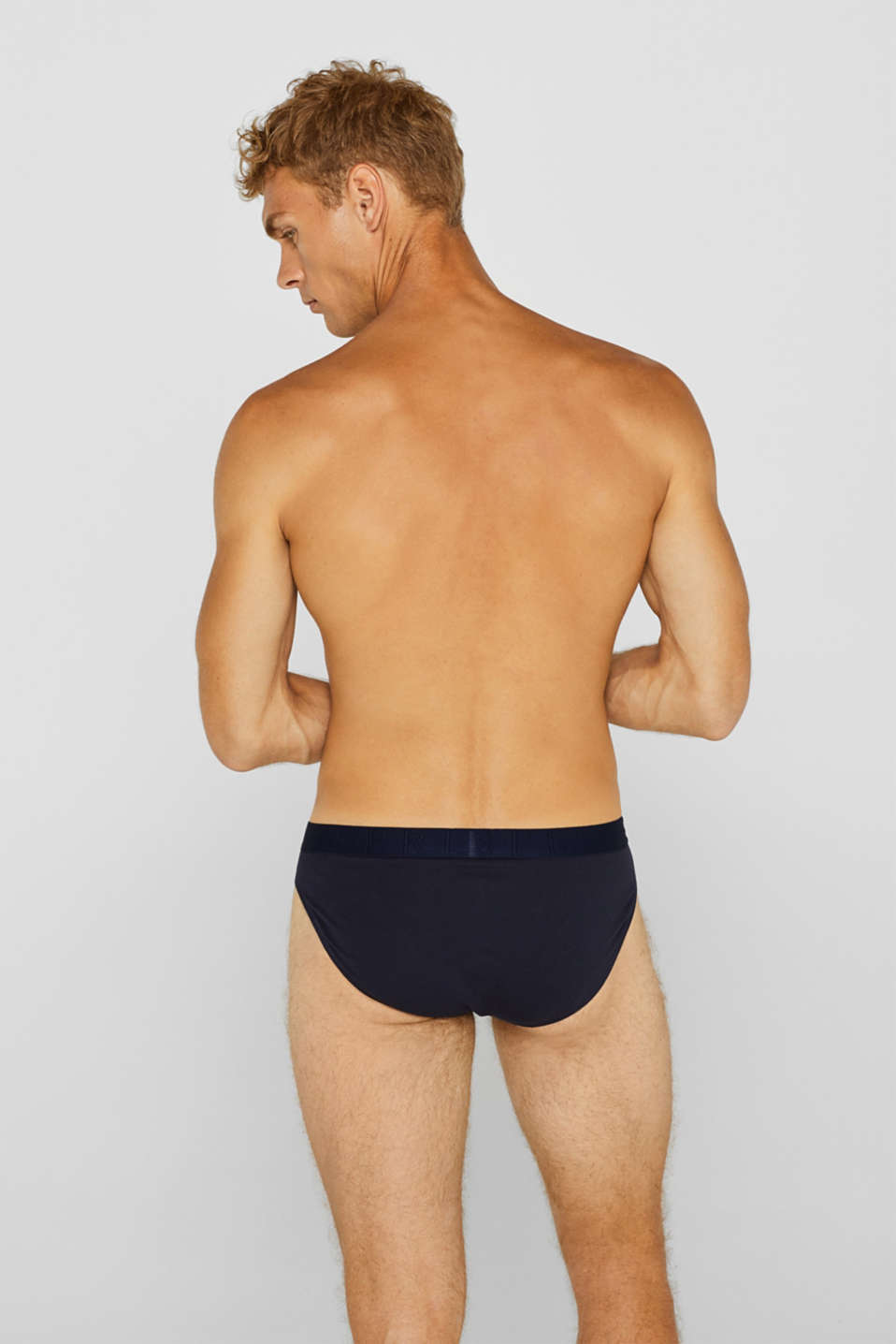 Stretch cotton briefs in a triple pack, NAVY, detail image number 1