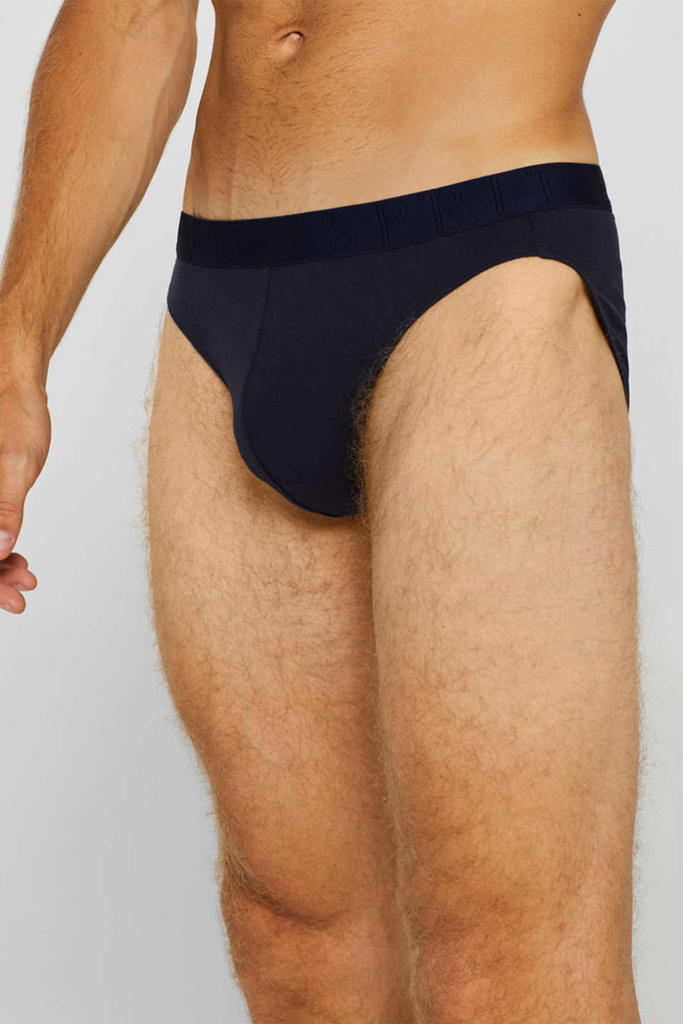 Stretch cotton briefs in a triple pack, NAVY, detail image number 2