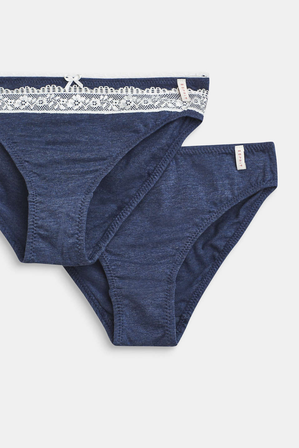 Two-pack of hipster briefs with lace, NAVY, detail image number 1
