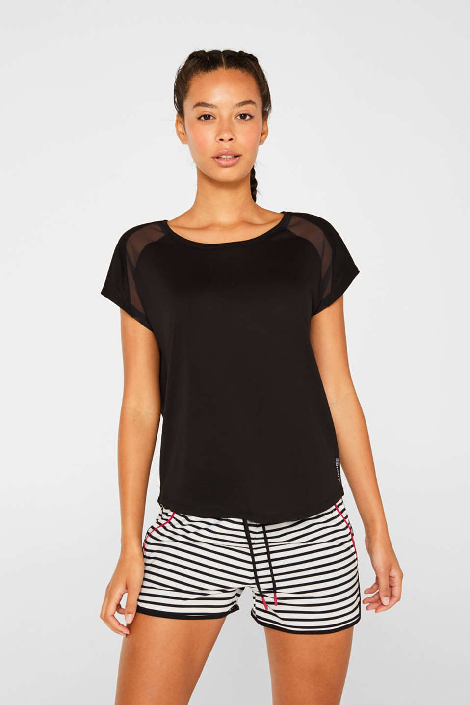 Top with mesh details, BLACK, detail image number 0