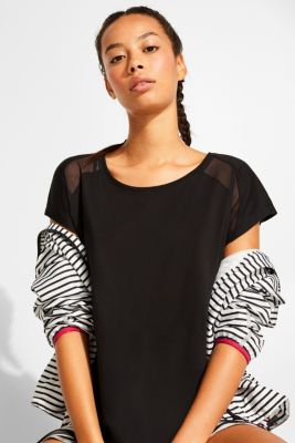 Top with mesh details, BLACK, detail