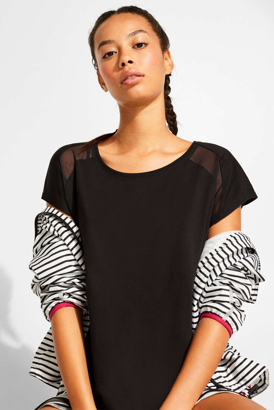 Top with mesh details, BLACK, detail image number 1