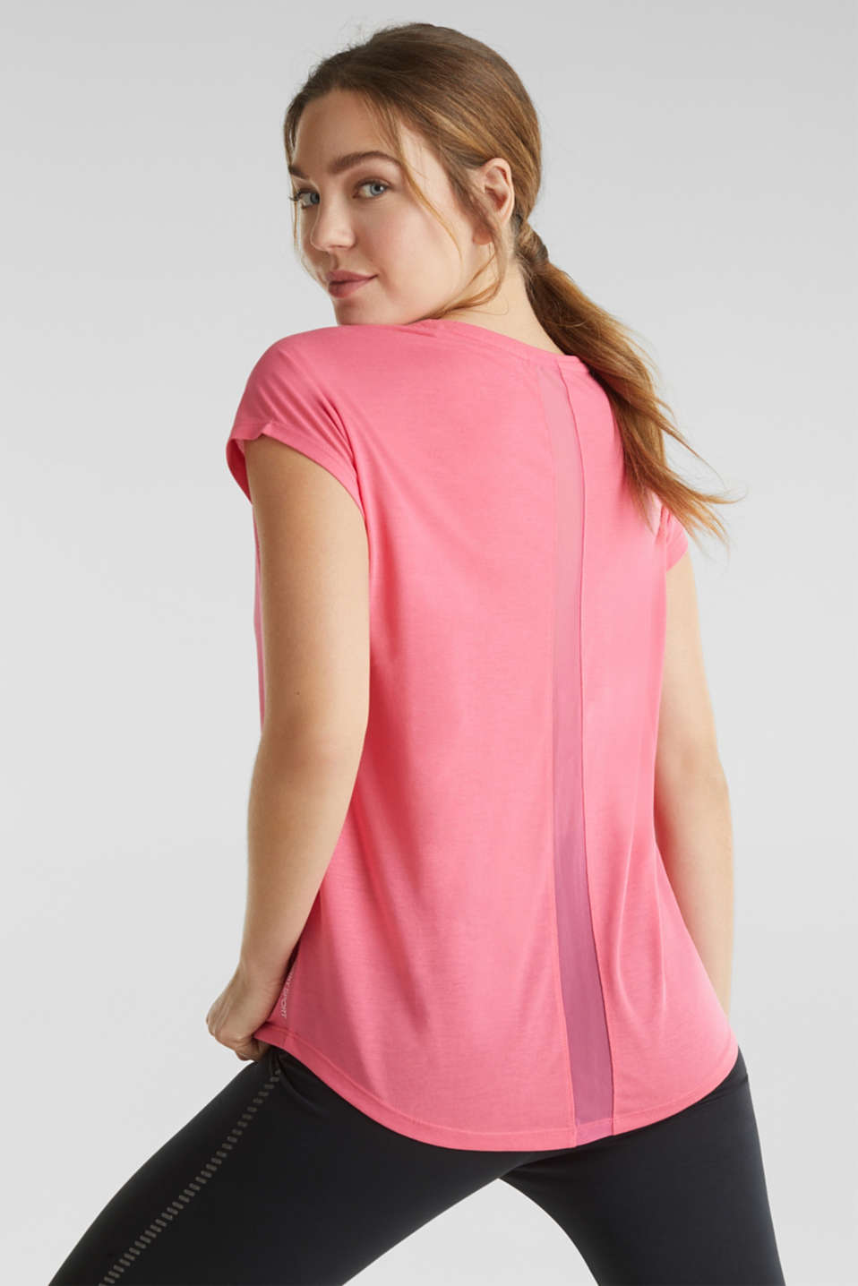 Top with mesh details, CORAL, detail image number 3