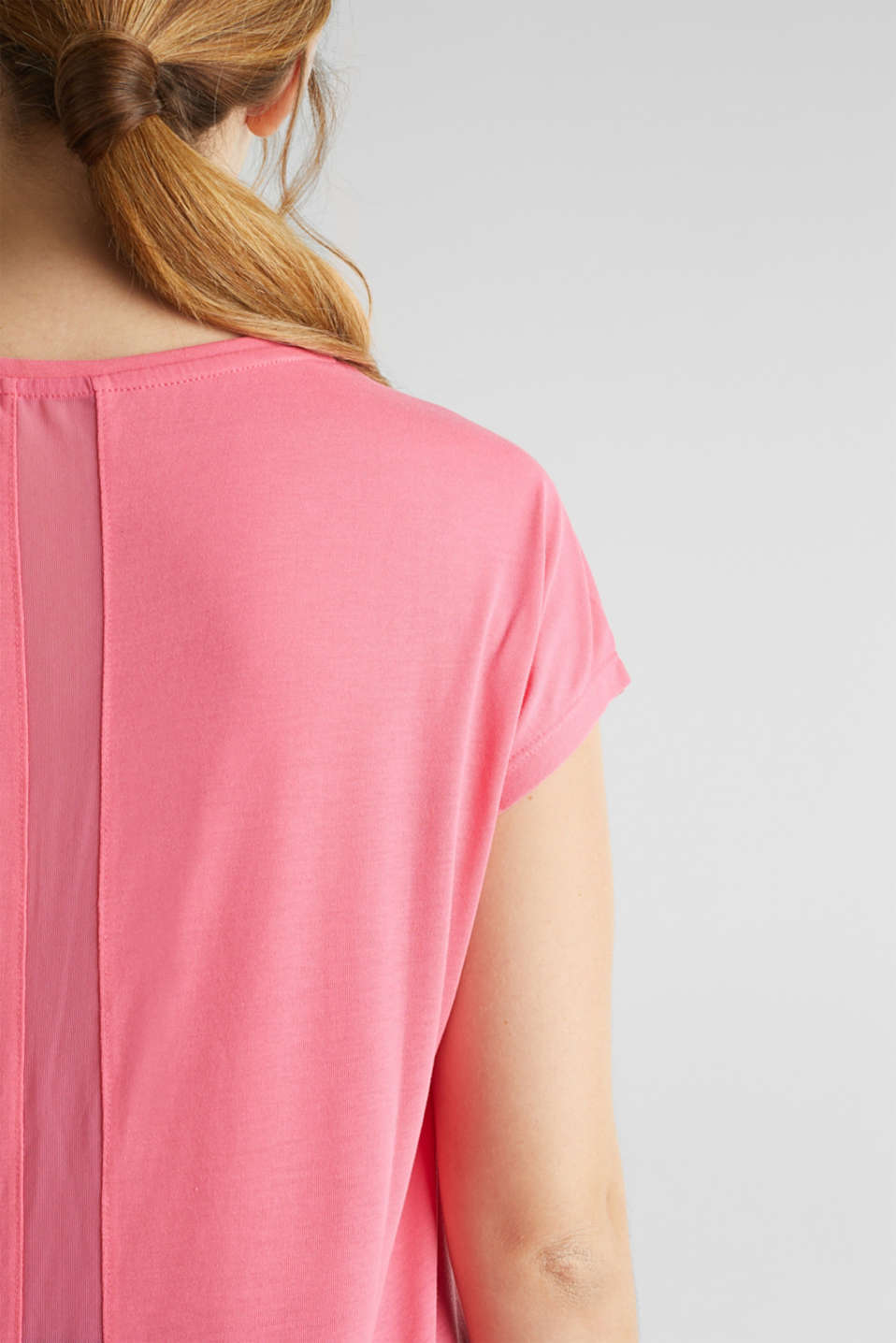 Top with mesh details, CORAL, detail image number 5