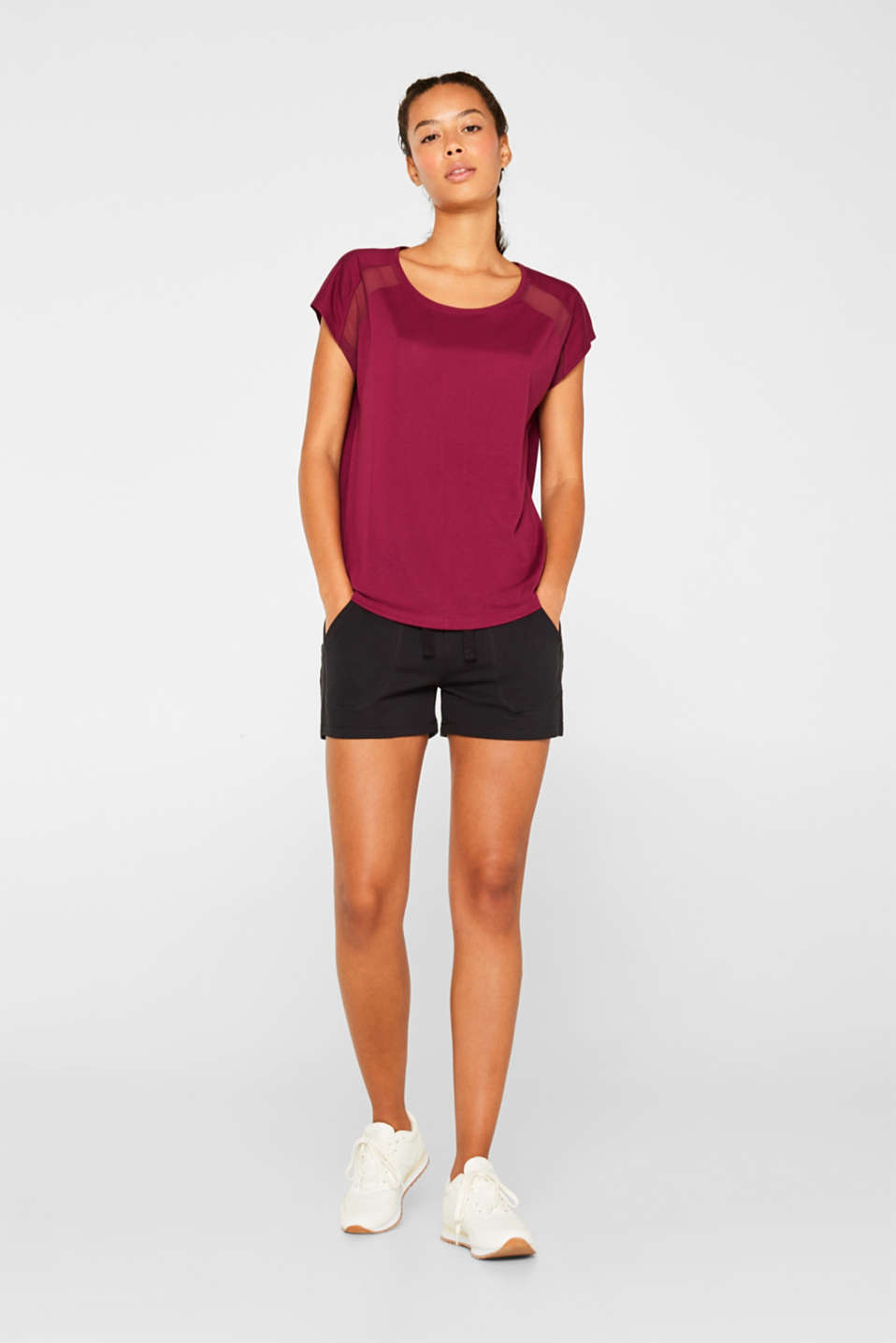 Top with mesh details, DARK PINK, detail