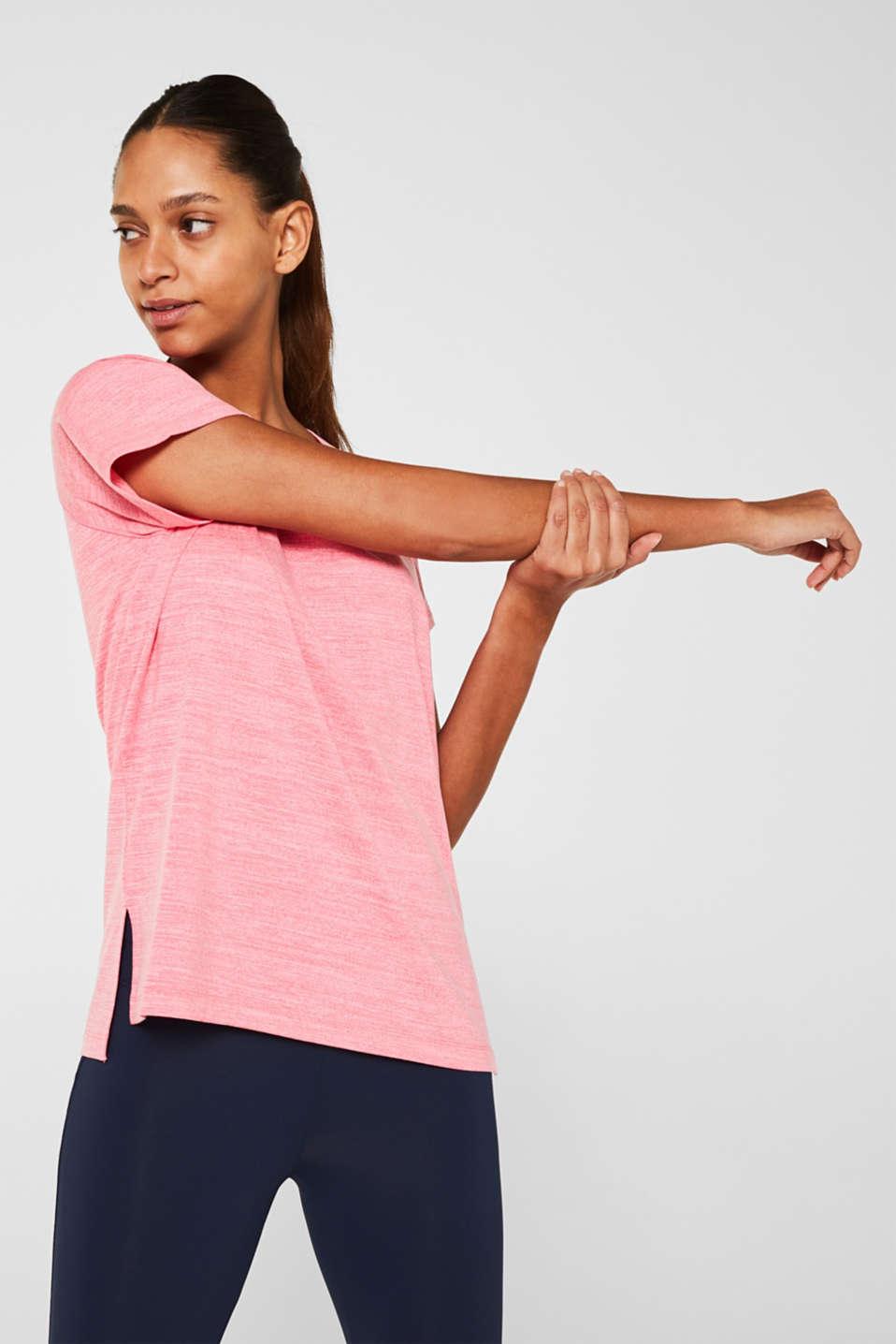 Melange active T-shirt, E-DRY, CORAL 2, detail image number 0