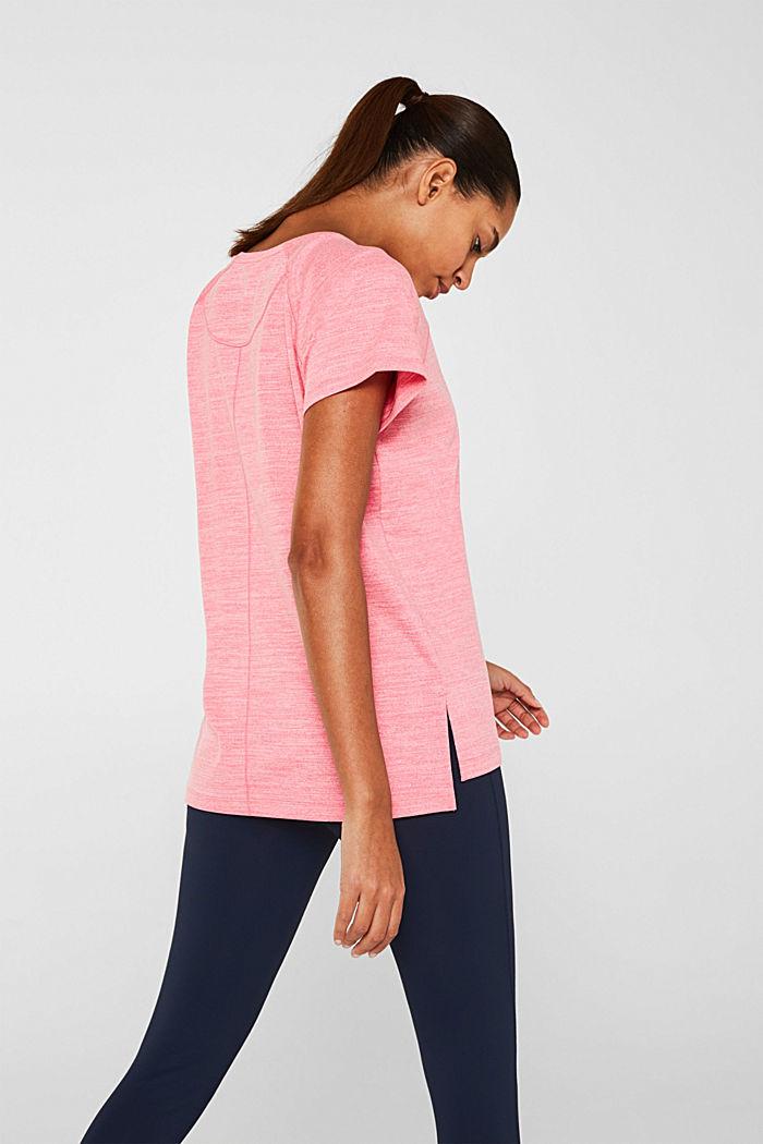 Camiseta de deporte jaspeada, E-DRY, CORAL, detail image number 3