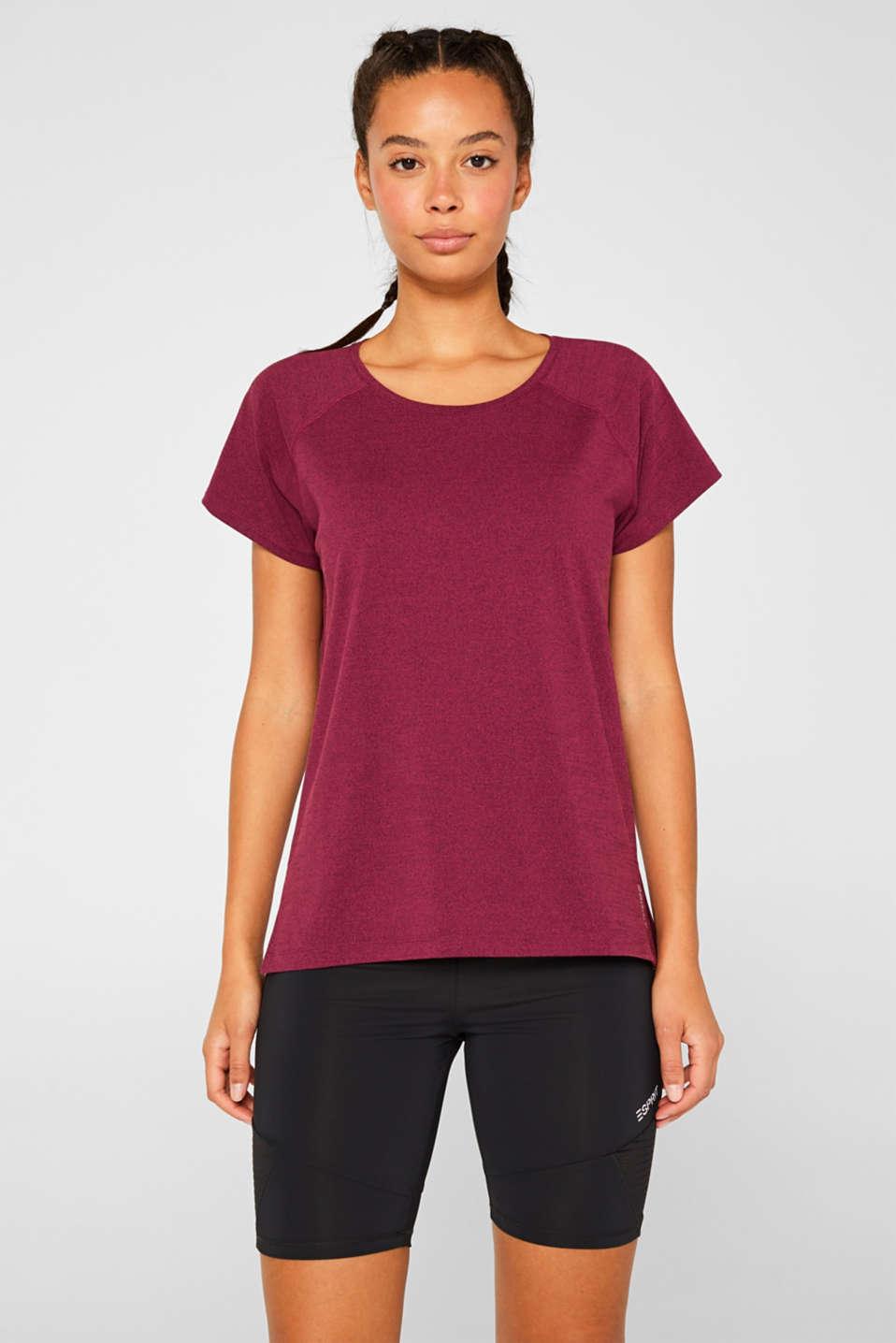 Melange active T-shirt, E-DRY, DARK PINK 2, detail image number 0