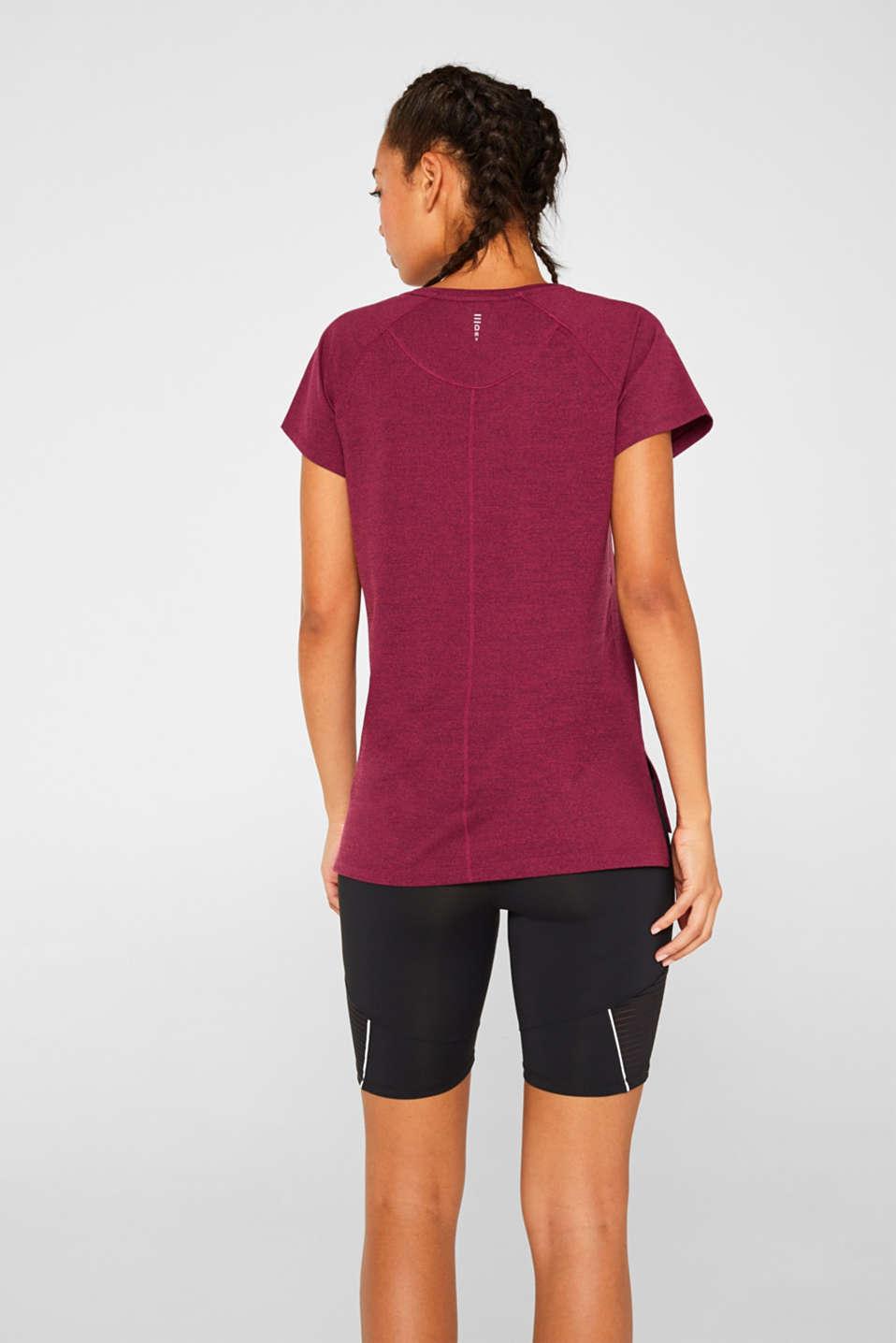 Melange active T-shirt, E-DRY, DARK PINK 2, detail image number 3