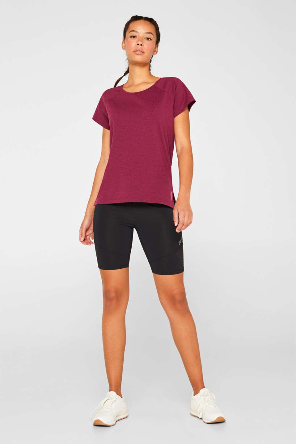 Melange active T-shirt, E-DRY, DARK PINK 2, detail image number 1