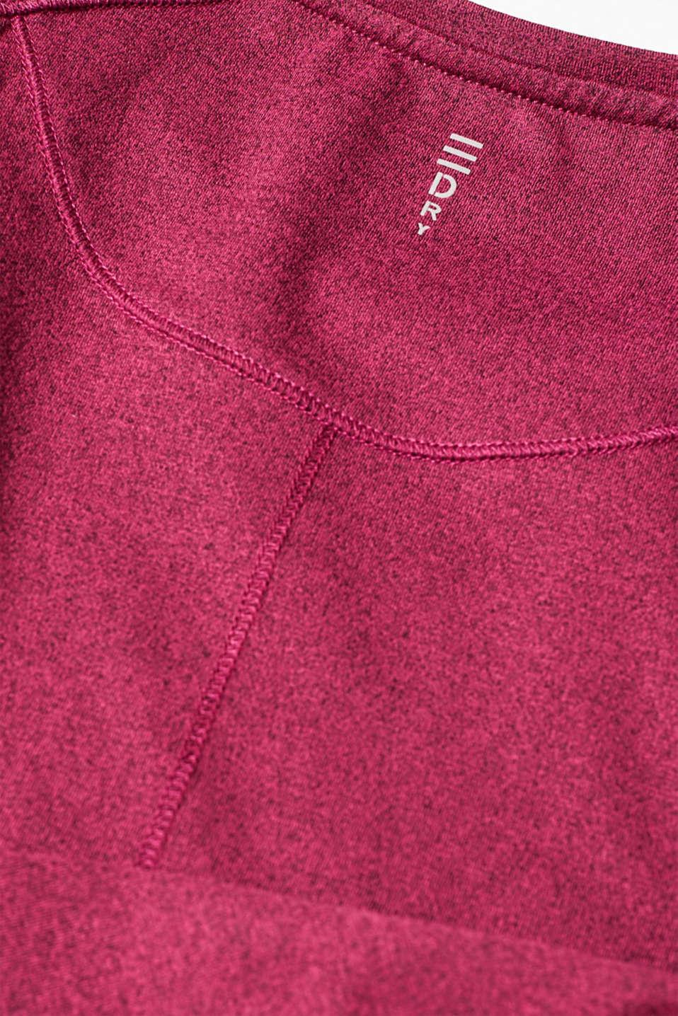 Melange active T-shirt, E-DRY, DARK PINK 2, detail image number 4