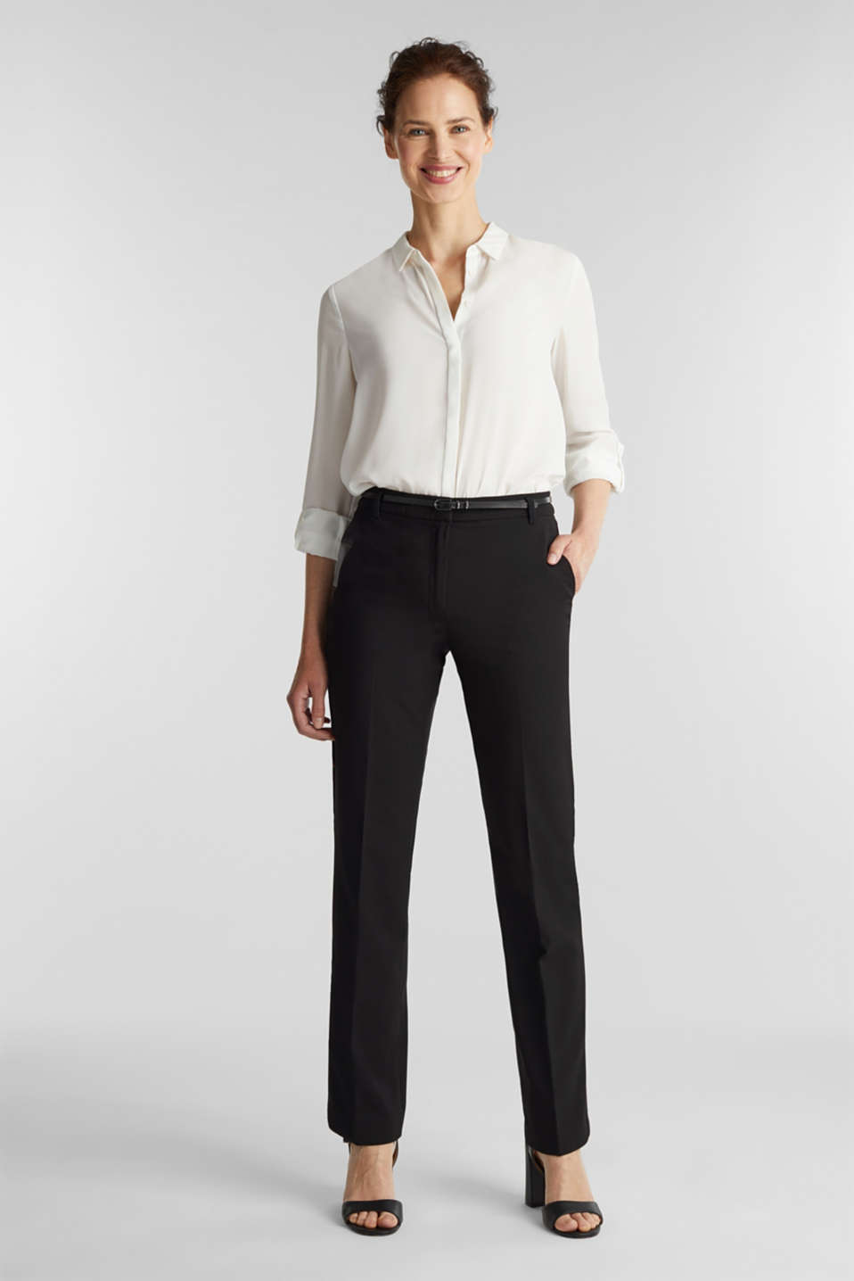 PURE BUSINESS Mix + Match stretch trousers, BLACK, detail