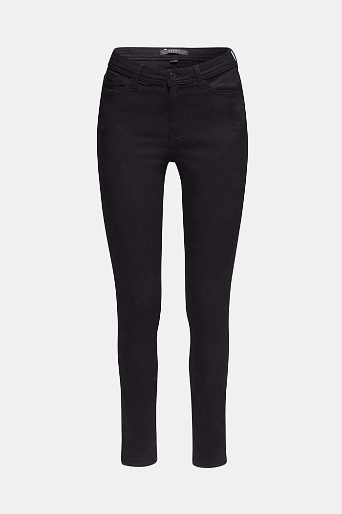 Soft high-waisted trousers with stretch, BLACK, overview