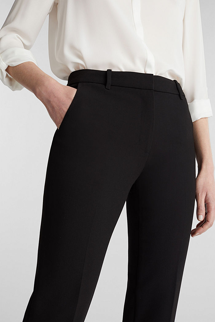 Stretch trousers in a business look, BLACK, detail image number 2