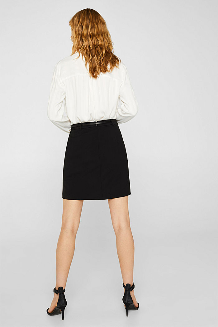 Stretch skirt with stitching, BLACK, detail image number 3
