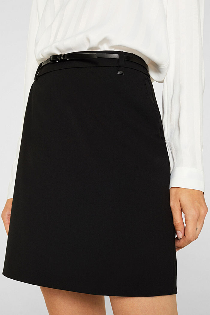 Stretch skirt with stitching, BLACK, detail image number 2