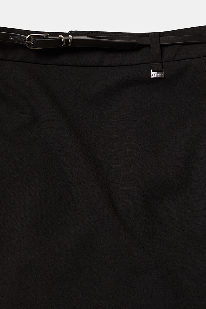 Stretch skirt with stitching, BLACK, detail image number 4