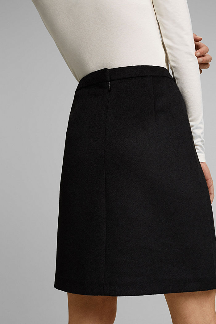 With wool: elegant A-line skirt, BLACK, detail image number 2