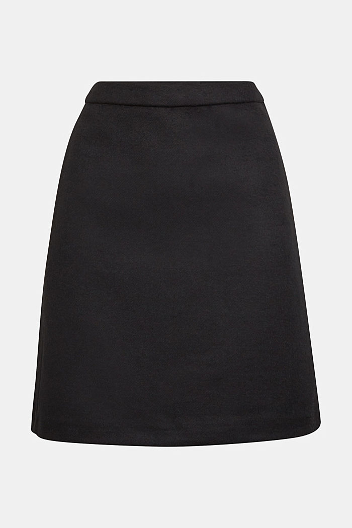 With wool: elegant A-line skirt, BLACK, detail image number 6