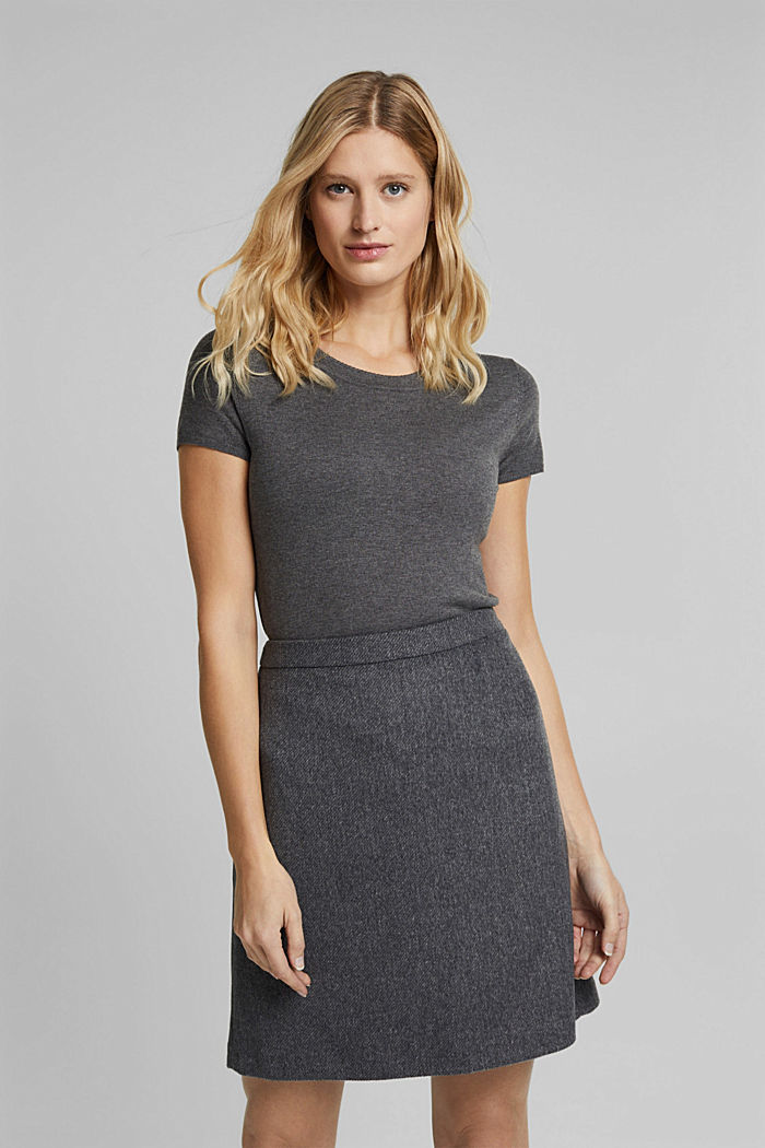With wool: elegant A-line skirt, DARK GREY, detail image number 0