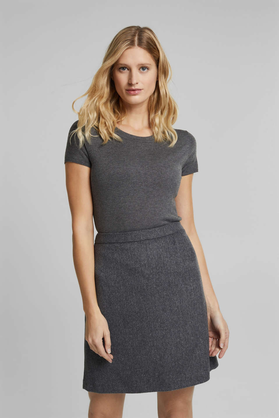 Esprit - With wool: skirt in a melange finish