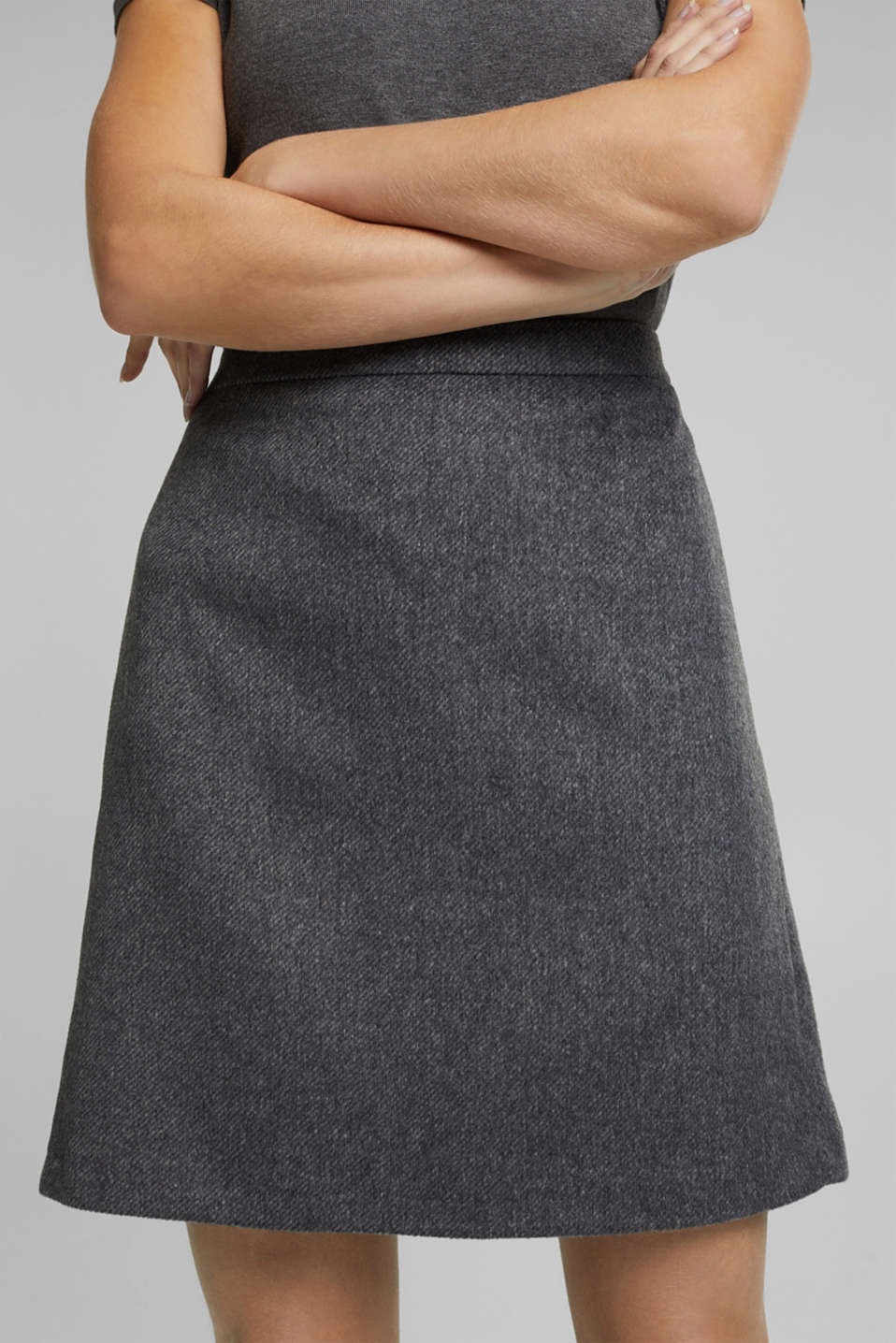 With wool: skirt in a melange finish, DARK GREY, detail image number 2
