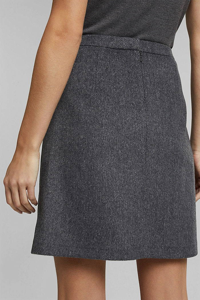 With wool: elegant A-line skirt, DARK GREY, detail image number 4